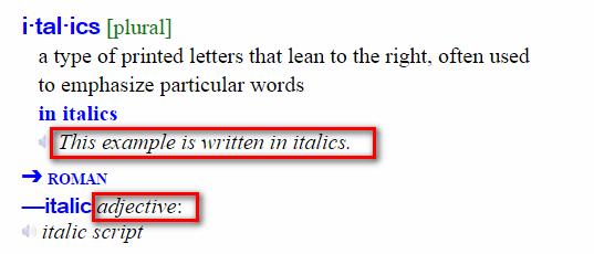 italic example