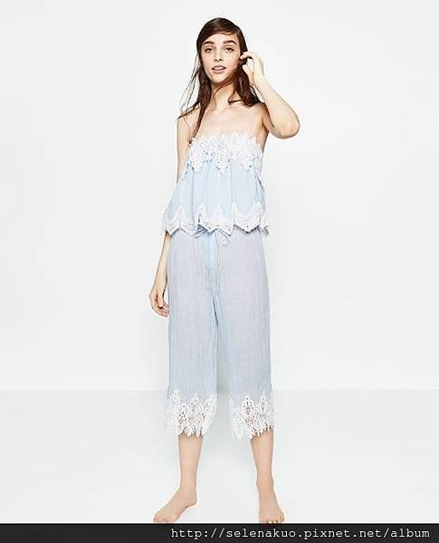 6d29be97d40cc 這套雪紡蕾絲露肩上衣+長褲乍看之下會以為是日本設計的竟然也是ZARA!