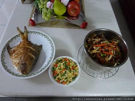 初二要拜拜的菜+多出來的三色蔬菜