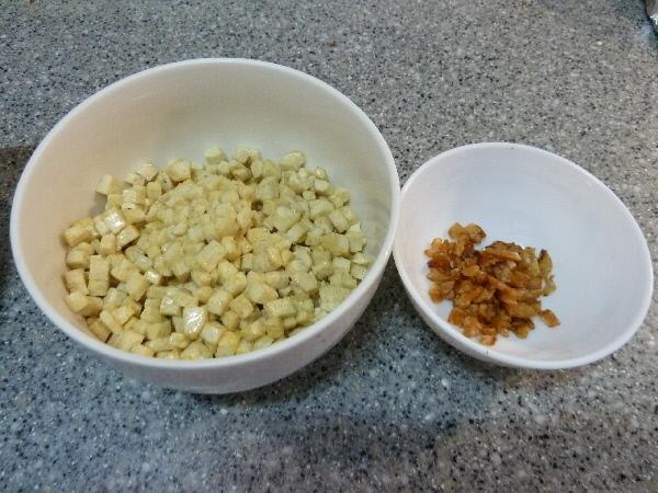 過好油豆乾丁及烤乾切碎蝦米