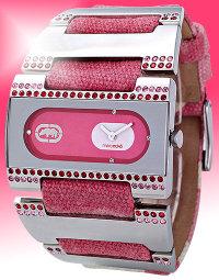 ecko時尚粉紅迷彩水鑽錶