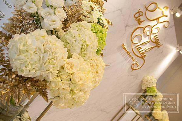 萬豪酒店 白綠金婚禮布置