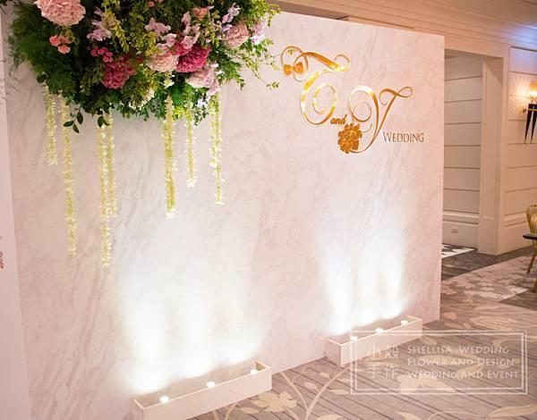 白桃婚禮佈置 大理石背板 文華東方酒店
