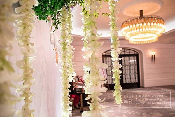大理石背板 文華酒店婚禮佈置 空中花 垂墜花 鮮花串