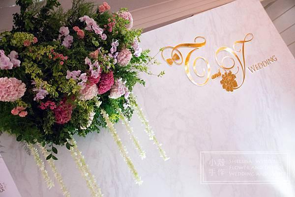 大理石背板 文華酒店婚禮佈置 空中花 垂墜花 花牆