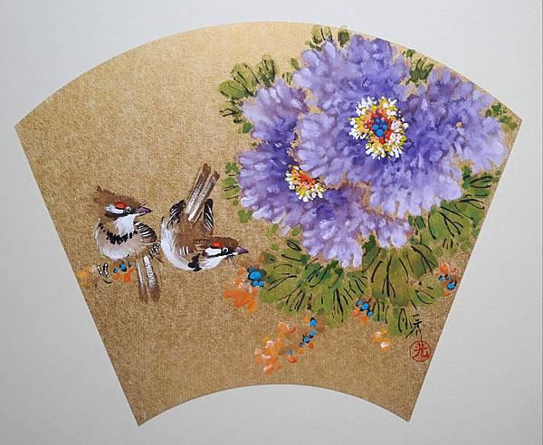 裱版畫108.03.04-紫牡丹紅頰雀