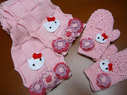 2007 花花圍巾 + 花花手套-1