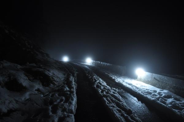 前往滑雪山莊的路上