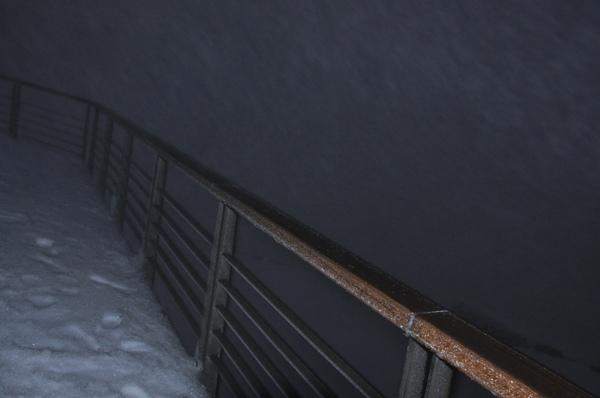 除了欄杆 外面就是白茫茫一片