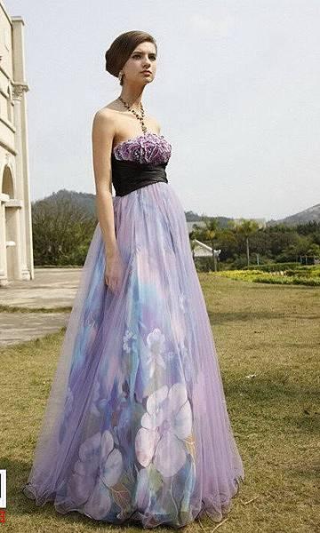 紫花晚禮服