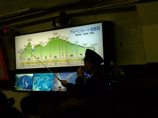 站員很賣力地在解說立山黑部的交通工具