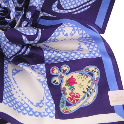 Vivienne Westwood 花花星球LOGO方格帕巾(紫) 2500.jpg