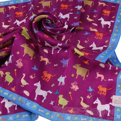 VIVIENNE WESTWOOD動物星球行星logo領巾(紫)2500.jpg