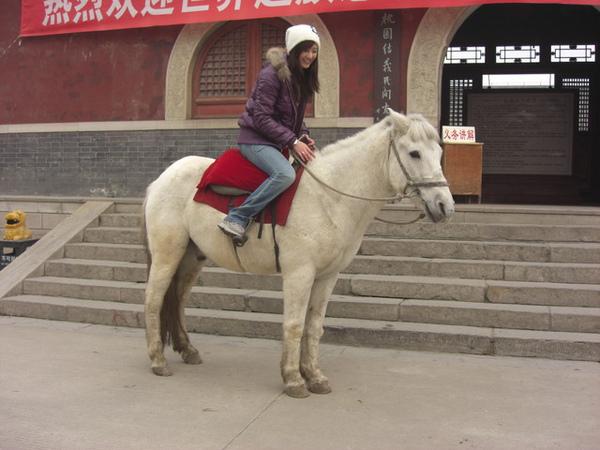 硬是要學趙子龍騎白馬上路