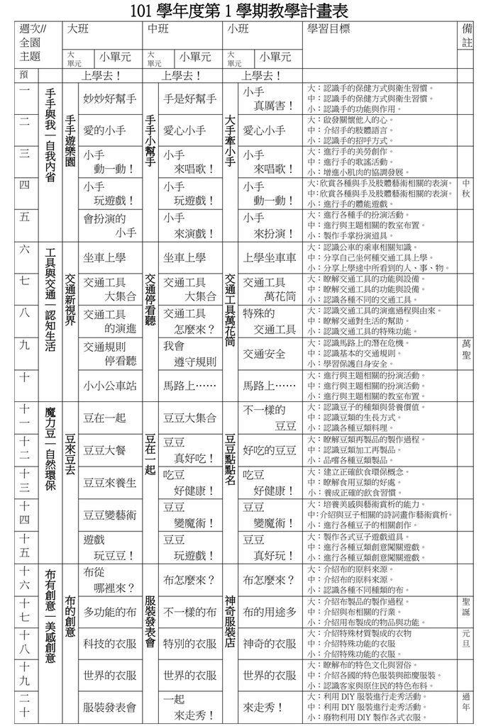 1011 教學計劃表