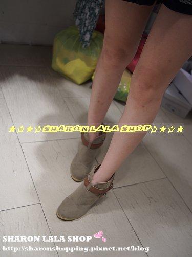 323.韓皮帶麂皮高跟踝靴 $1430 黑 杏 22.5-25 尺寸正常