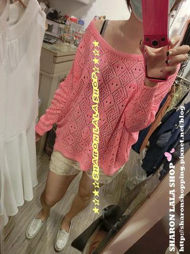368.菱形洞針織上衣(8948)$470 梅紅 粉橘 灰 黃