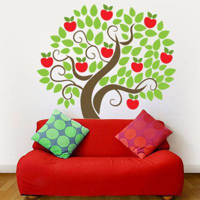 千樹┃DIY涂鸦儿童墙贴墙纸贴纸(苹果树)_974829_L