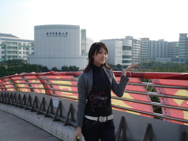天橋上看學校