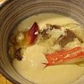 這是茶碗蒸裡的料:北極貝、牛肉、蟹肉