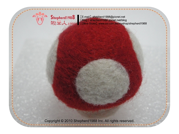 羊毛氈-醜不拉嘰香菇頭.紅