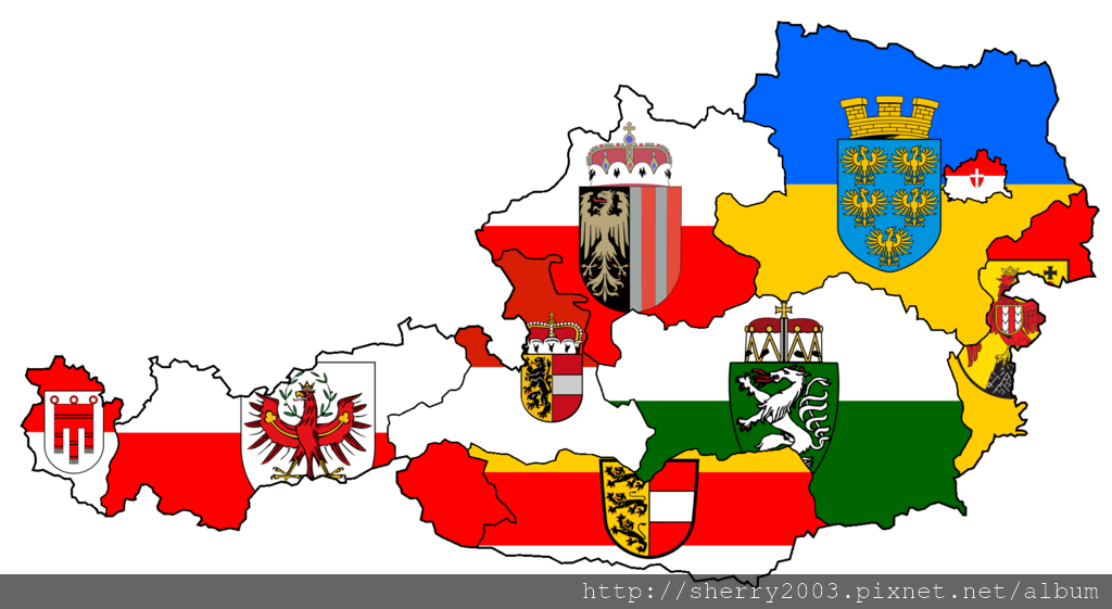 Austria States Flag Map.png