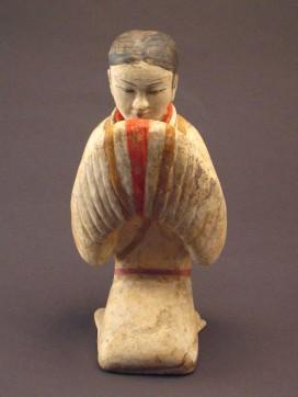 塑衣式彩繪跽坐拱手女俑