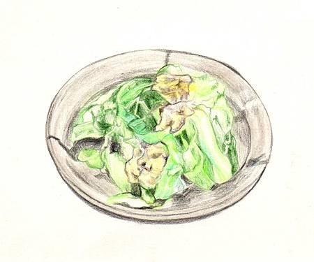 春高麗菜和海帶雞蛋煮
