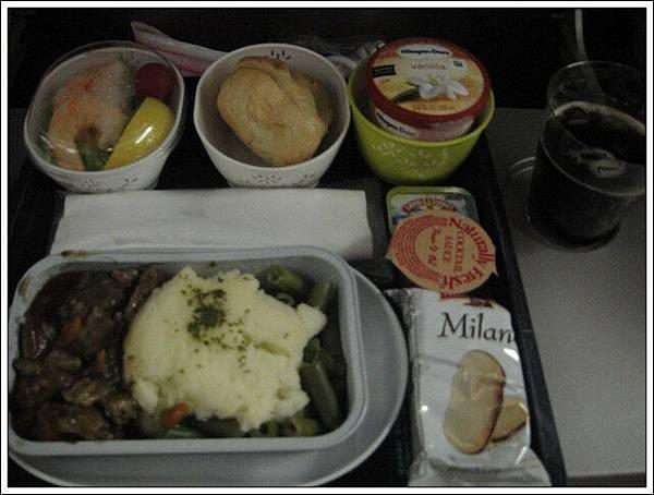 回程的飛機餐也有哈根答斯