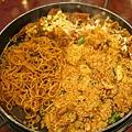 章魚起司炒雞排+麵+炒飯,好飽!
