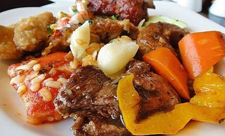 牛小排+蒜味貝殼麵
