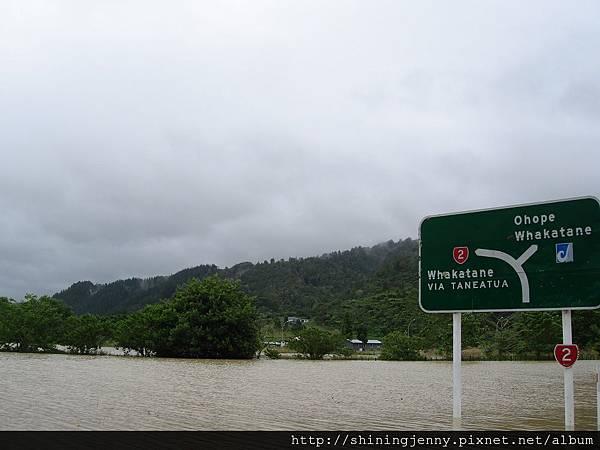 這天Opotiki附近淹水了