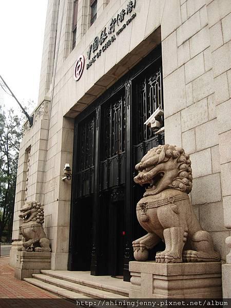 中國銀行門口的中國石獅子