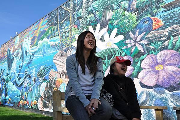 以Takaka市區壁畫當背景的自然照