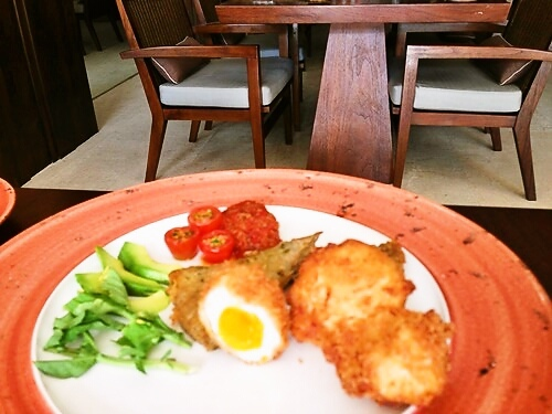 Crumbed Fried soft Poached Hens Egg