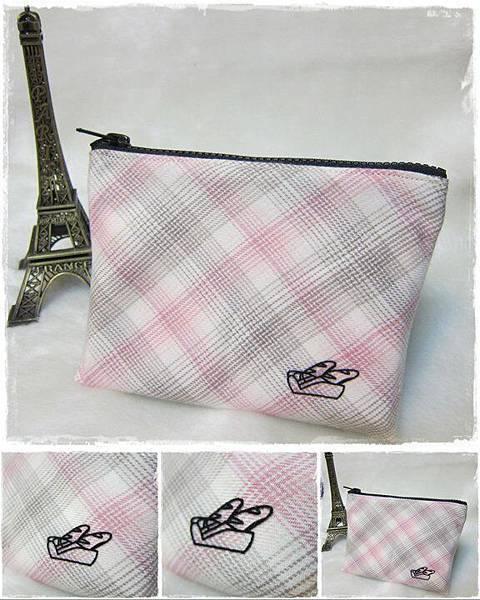 1000513_收納包4-粉紅格紋佐熱燙貼(無內裡的雙面布)