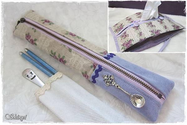 1010720拉鏈筷袋_紫玫瑰佐蕾絲(日本布)2a