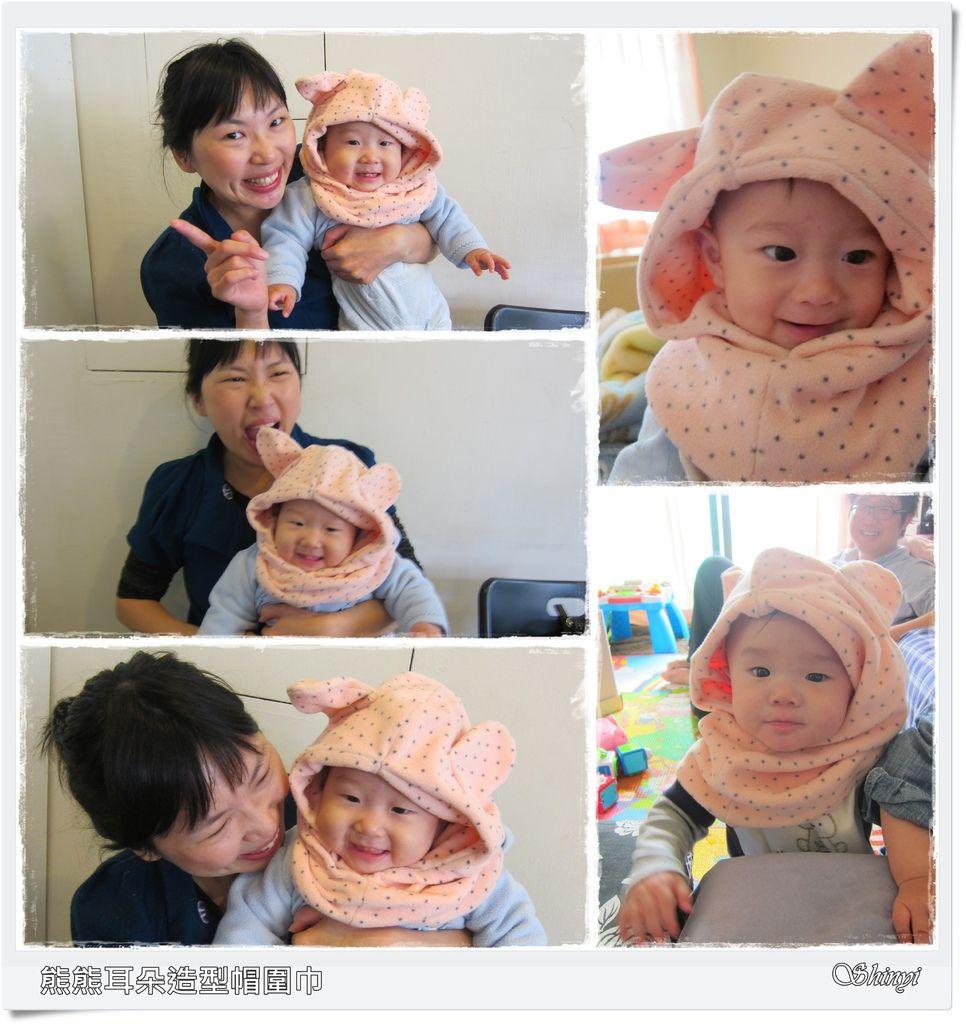 1020113熊熊耳朵造型帽圍巾a