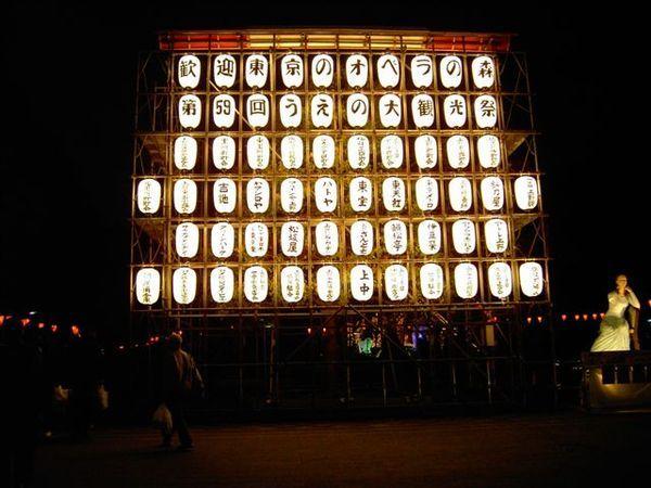 一整面的燈籠宣傳著上野祭