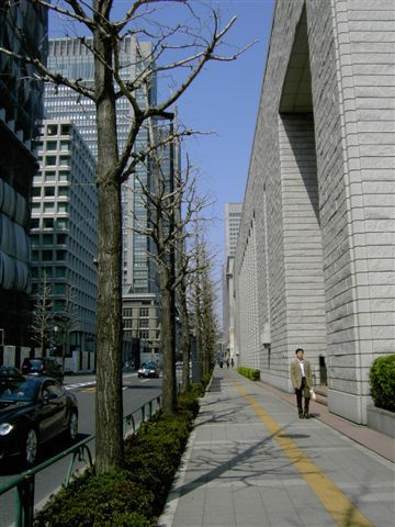 我在丸の内二丁目這區走來走去,想找東京地検城西支部,卻像鬼打牆