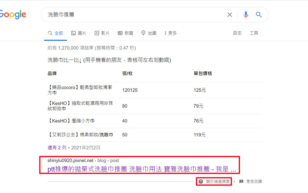 google精選摘要-洗臉巾推薦.jpg