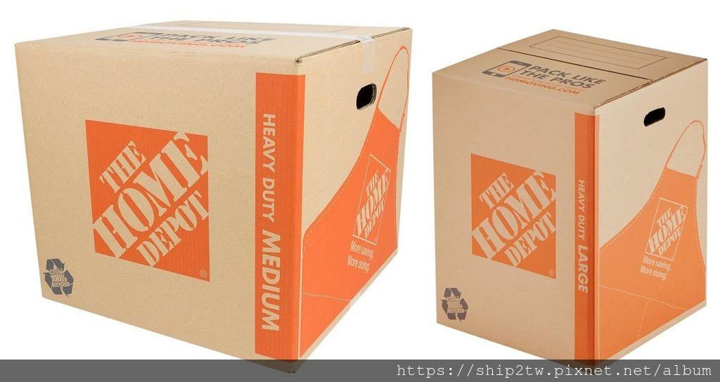 像是18*18*24 inch(英吋)大小的重型箱子(heavy-duty box)是從美國搬家回台灣最常用的一種紙箱,也是Ship2tw蠻推薦來使用的, 重型箱子(heavy-duty box)可以到那找的到呢?美國的朋友可以上The Home Depot(家得寶)網站或是門市購買,