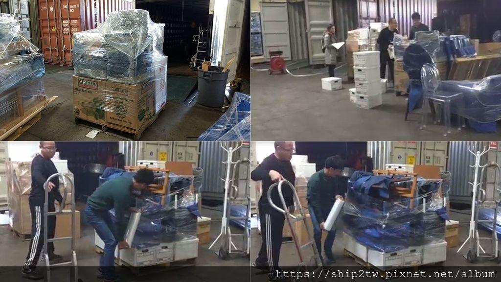 圖為SHIP2TW在美國出口倉庫為華僑陳先生的行李及傢俱加強固定的照片, 為什麼要用打包專用膠膜加強固定海運的行李呢?不是只是從美國海運回台灣單純運輸嗎? SHIP2TW為了每一位美國華僑留學生的行李及傢俱可以在海運運輸期間可以不受到海上的癲波, 都會加用膠膜加強固定海運的行李而且還要打棧板讓行李或是傢俱可以牢固地在從美國海運回台灣的貨櫃中,