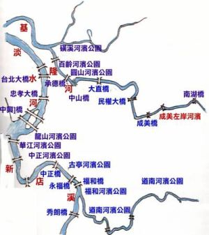 台北市河濱公園與橋樑水系