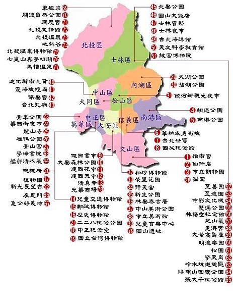台北市行政區及觀光景點