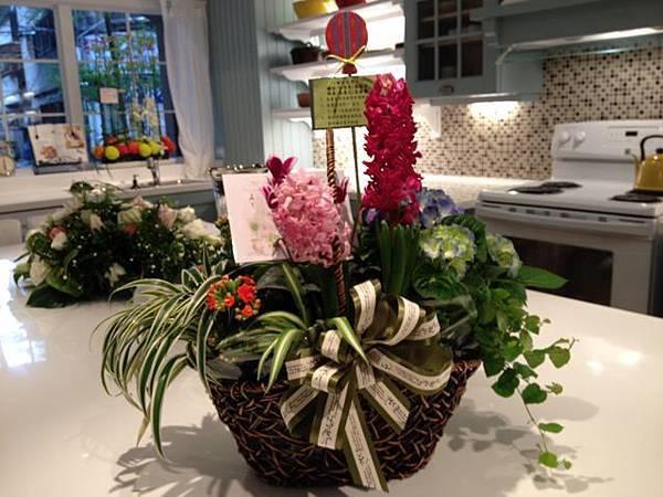 客戶送老闆Grace的花籃,裡面可全都是一小盆一小盆的小盆栽耶,很不錯呢。