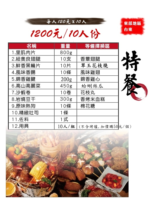 特餐1200/10人份