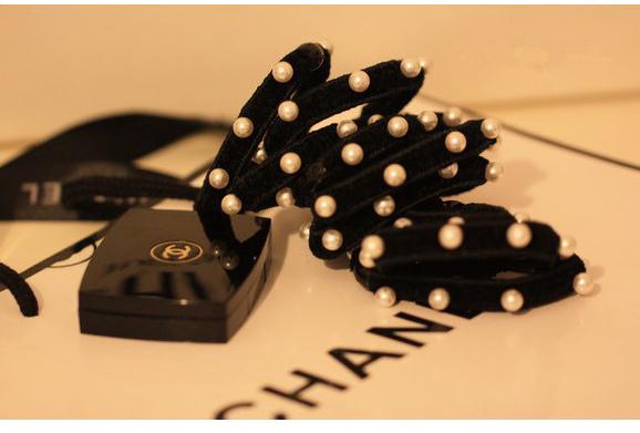 小香風。珍珠。拼接。拉絨。皮筋。外單。韓國。發繩發圈