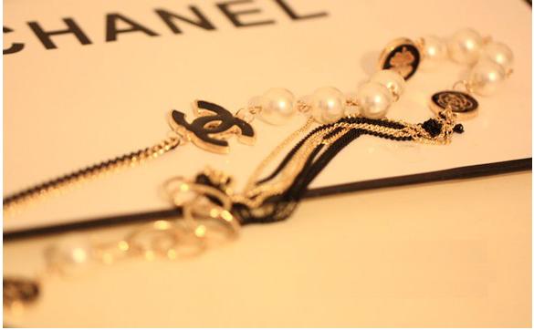 「歐美」小香。珍珠。鏈條。山茶花。圓牌。長款。項鏈。毛衣鏈