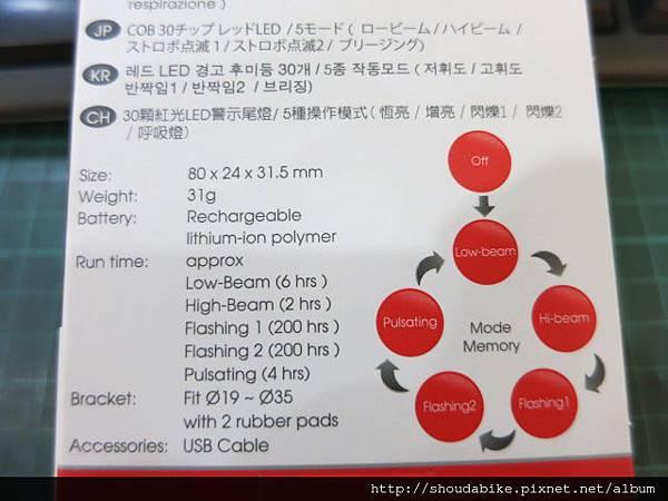 INFINI  (SWORD I-461R1)  暖爐式USB尾燈 #超持久